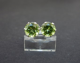 Natural Gemstone Peridot Faceted 6mm Round Shape 925 Sterling Silver Stud Style Earrings, August Birthstone