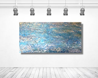 Ocean Breeze - 2 ft x 4 ft Original Mixed Media Textured Acrylic Contemporary Painting by Everilde