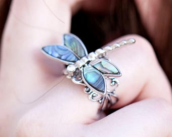 Silver Dragonfly Ring - Unique Ring - Dragonfly Jewelry - Abalone Ring  -Mother of Pearl Ring -Silver Crystal Adjustable Gift For Her 18A
