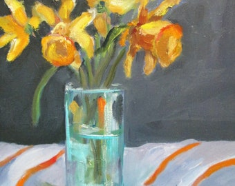 Spring Daffodils still life flowers in a vase original 14x11 oil painting Art by Delilah