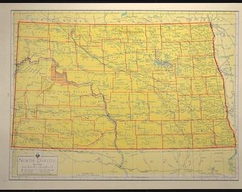 Colorful Yellow Vintage North Dakota Map North Dakota