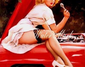 Pin up sits on red car*Canvas paper print*8x10*