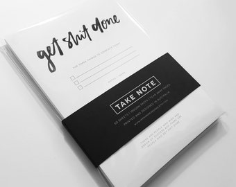 Get Shit Done Notepad - Christmas - XMAS - Gift - To Do - Funny - Gift - Stationery - List Pad - Motivational - New Year Resolution