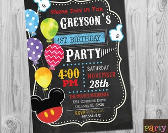 Mickey Mouse Invitation, Mickey Mouse Birthday Invitation, Mickey 1st Birthday Invitation, Mickey First Birthday Invitation Boy Printable