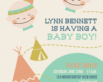 5X7Baby shower invitation features cowboys and indians theme
