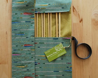 Knitting Needle Case / Organizer / Holder for Straight Needles - Arrows Fabric with Metallic Mustard Lining