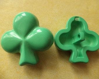 2 big KNOBS 30mm Green (6383) button clover