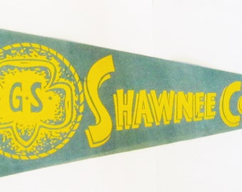 "Vintage Girl Scout Felt Pennant ""Shawnee Council"" circa 1940's"