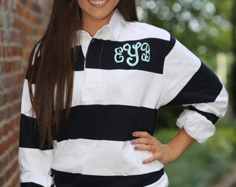 Monogram Rugby Shirt Preppy Womens Long Sleeve Shirt- Southern Style- Southern Prep