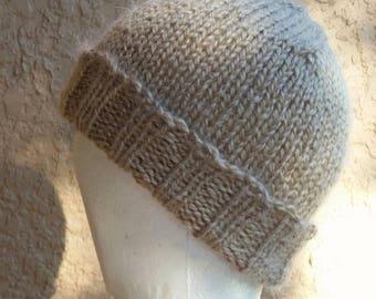 Stocking cap, watch cap, longshoremans hat, beanie, skull cap tan, beige, brown, taupe. Hand knit stocking cap, beanie or skull cap