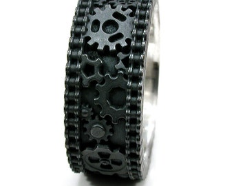 Distressed Silver Gear Ring Steampunk Industrial Cogs and