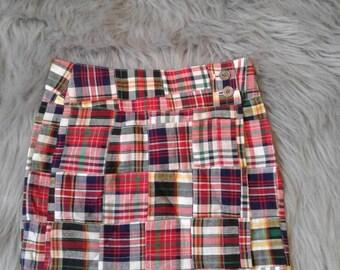 Madras Red girls wrap around skirt