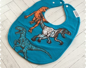 Dinosaur Baby Bib, Recycled T-Shirt Baby Bib, Baby Boy Gift Baby Shower, Dino Bib, Dino Baby