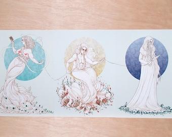 3 Fates, Greek Mythology Print