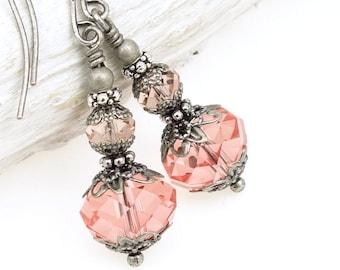 Pink Earrings Bohemian Jewelry Silver Earrings Oxidized Antique Silver Jewelry Beaded Dangle Earrings Romantic Gift for Women Accessories
