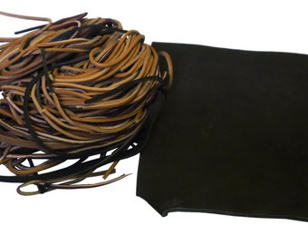 1 lb of leather Spaghetti strips and leather scrap