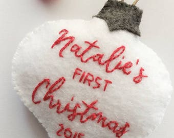Baby's First Christmas Ornament | Babys First Christmas | First Christmas Ornament | Felt Ornaments | My First Christmas Ornament |