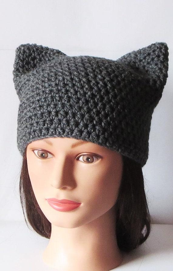 Graue Katze Hut Mütze häkeln Katze Tier-Mütze Kitty