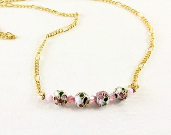 Cloisonne and Swarovski Bar Necklace, Gold Plated or Sterling Silver