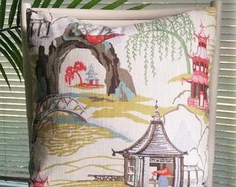 Robert Allen Neo Toile Asian Oriental Chinoiserie Pagoda Temple Coral White Cream Pillow Cover
