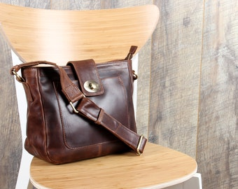Leather Messenger Bag, Cross Body Bag, Brown