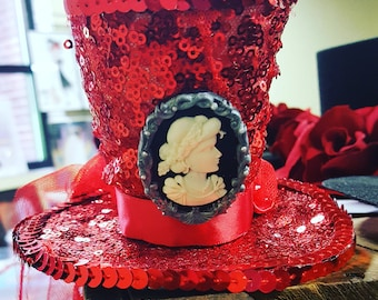 Mini Red Sequin Top Hat with Cameo