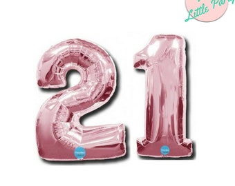 21st Number Balloons Light Pink 100cm Foil 21 birthday Party Decorations