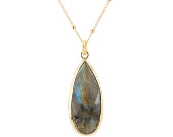 As seen on Veep, Gold Labradorite Necklace, Veep Necklace, Labradorite Pendant, As seen on tv, #6812