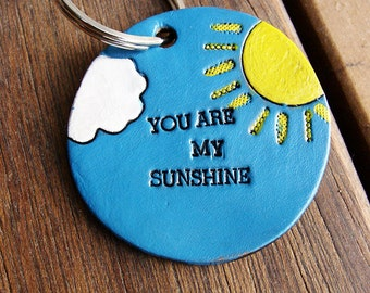 You Are My Sunshine Custom Leather Keychain