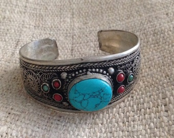 Vintage Turquoise Coral TibetanSilver Cuff Bracelet