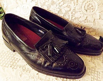 Florsheim Mens Black Leather Tassel Wing Tip Loafers Size 9.5 EEE