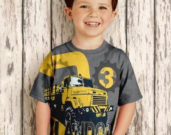 Personalized Dump Truck Shirt, Boys Construction Birthday  Number T-Shirt