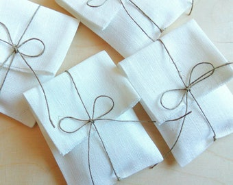 Set of 120-220 linen packaging pouches/envelopes.Favor /gift/candy /jewelry packaging bags. Wedding favors. Baby Shower Christening.