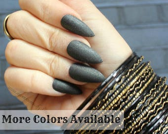Matte Black Red Silver Stiletto Nails | Duochrome Matte Nail | Glue On Nails | Your Choice of Colors | Fake False Nails | Pointy Claw Nails
