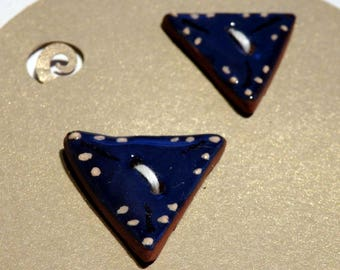 Handmade ceramic buttons -  pair of small blue triangle buttons C105