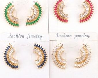 4Pair Zircons Elegent Wedding Jewelry Luxury CZ Crystal Stud Earrings For Women