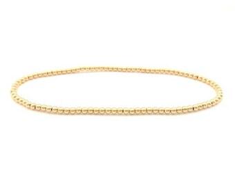 2mm beaded bracelet in gold