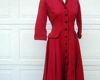 Vintage 40s/50s Dress Coatdress Fitted Crisp Red Faille Black Trim - New Look  Fit & Flare - Small