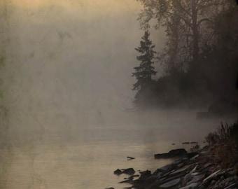 River Fog Print, Peaceful Living Room art, Nature, Serene Bedroom decor, hazy day, vertical photograph