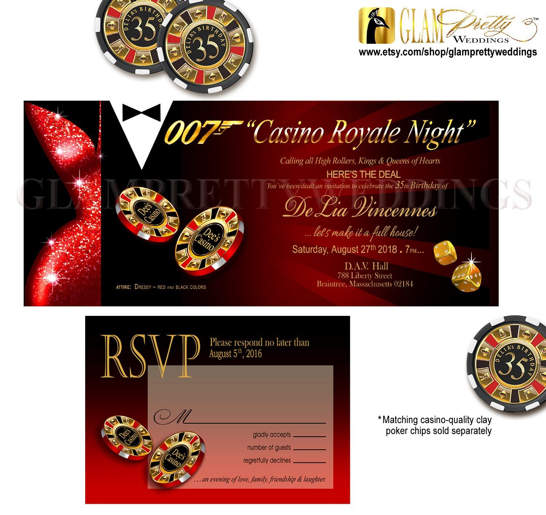 Casino Royale 007 Secret Agent Birthday Invite & RSVP dressed