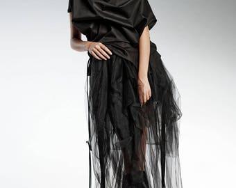 Black Blouse, One Shoulder Top, Gothic Clothing, Women Black Top, Cotton Blouse, Victorian Top, Loose Blouse, Black Extravagant Top