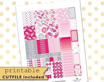 Printable Planner Stickers for use with Erin Condren Life Planner/Pink Grey Weekly Planner Sticker Kit//Floral Planner Sticker Set//Download