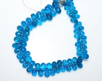 """1 Strand Neon Apatite Tear Drop Beads - Neon Apatite Faceted Briolette , Sold By Strand , 5x7 - 6.50x11 mm , 9"""" , BL1809J"""