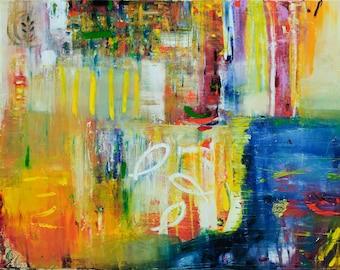 Abstract Oil Painting Contemporary Art Original Oil Painting Yellow and Blue oil painting Modern Art Modern Ukrainian art Olesya Hudyma