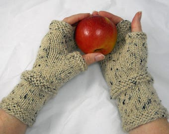 Hand Knit Merino Wool and Alpaca Fingerless Mitts, Fingerless Gloves, Winter Handwarmers, Stocking Stuffer, Gift for Her, Valentines Day