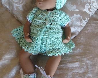 Pretty mint green crochet ensemble to fit Sasha Morgenthaler baby doll