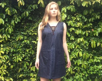 SALE Janis Denim dress with lace up detail- XS