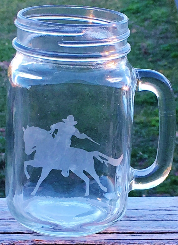 Mounted Shooting Horse Etched Drinking Glass, Mounted Shooter Gift, Horse Gift, Horse Birthday Gift