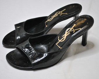 YSL Sandals women in black patent leather TG 36