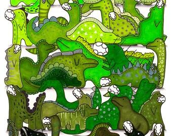 Green Dinosaur Art Print, Cute Nursery Poster, Bedroom, Dino Drawing, Lime, Mint, 8.5x11